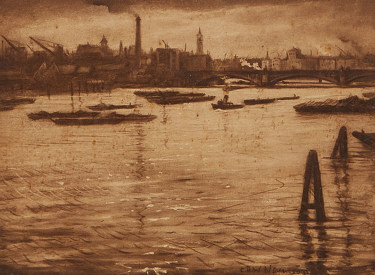 C.R.W. Nevinson (1889-1946)(after) - Another River Scene