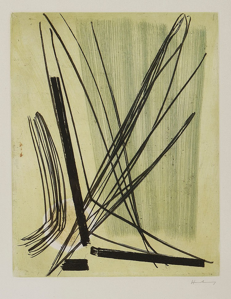 Hans Hartung (1904-1989) - No. 7: Composition in Green and Ochre (S.7)