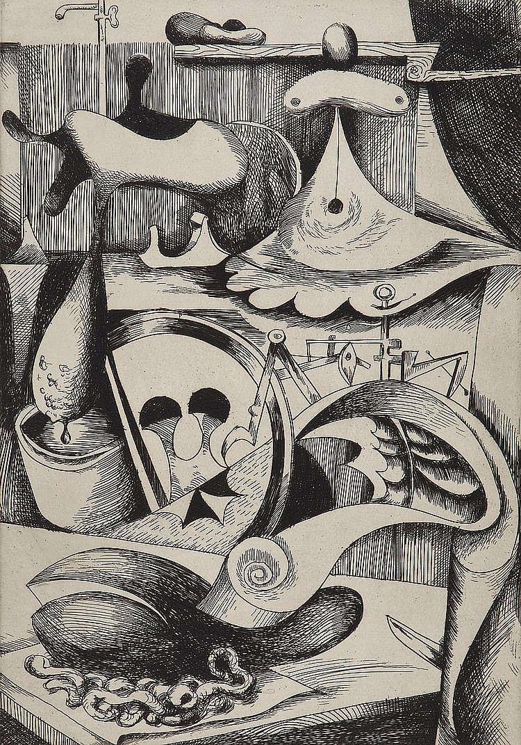 Kurt Seligmann (1900-1962) - L'Opere; Le Charmeur d'Oiseaux