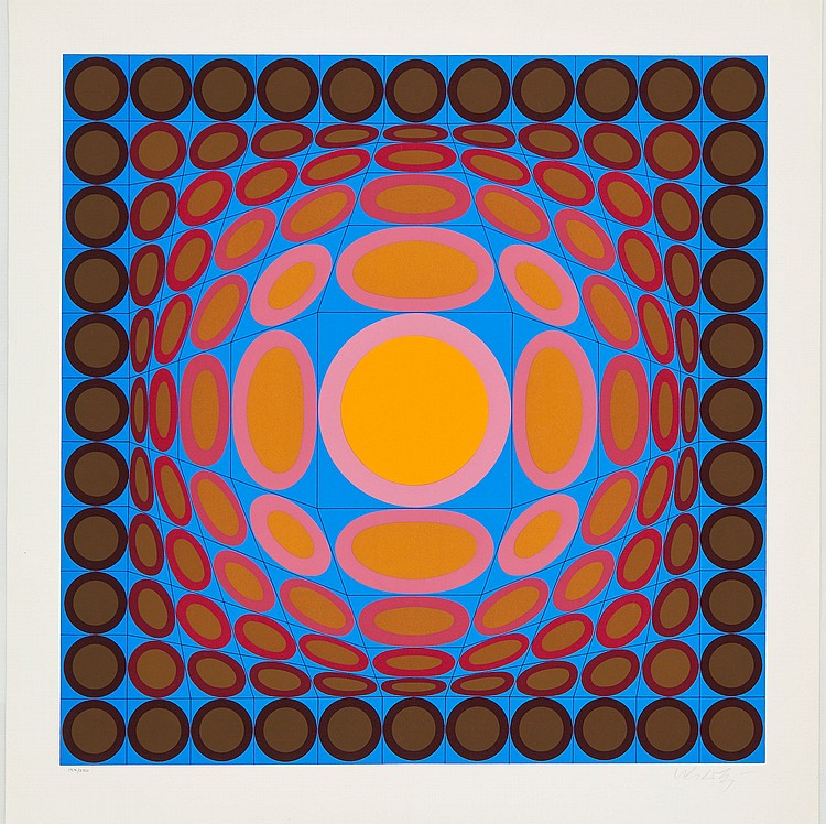 Victor Vasarely (1906-1997) - Orange and Blue Composition