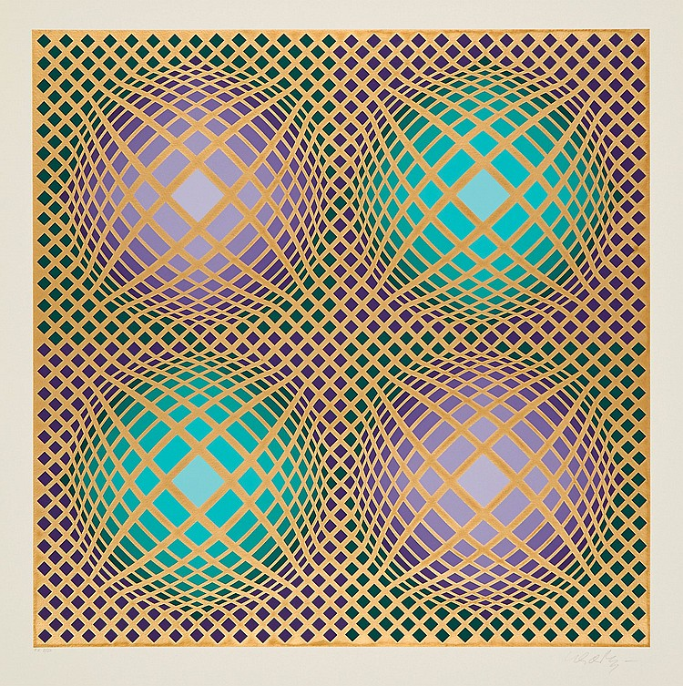 Victor Vasarely (1906-1997) - Green and Gold Composition