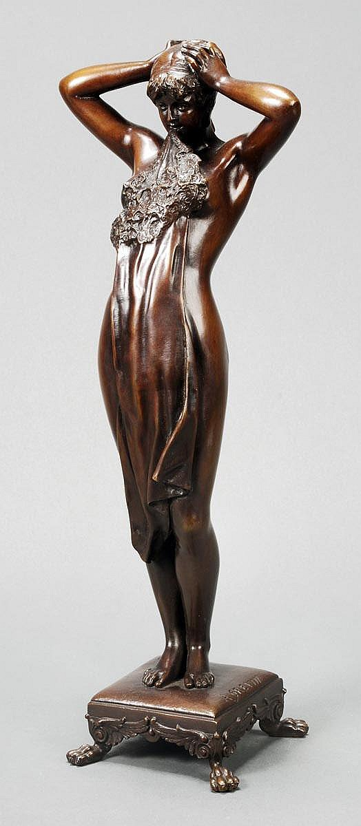Alfred Grevin (1827-1892), Undressing, a patinated