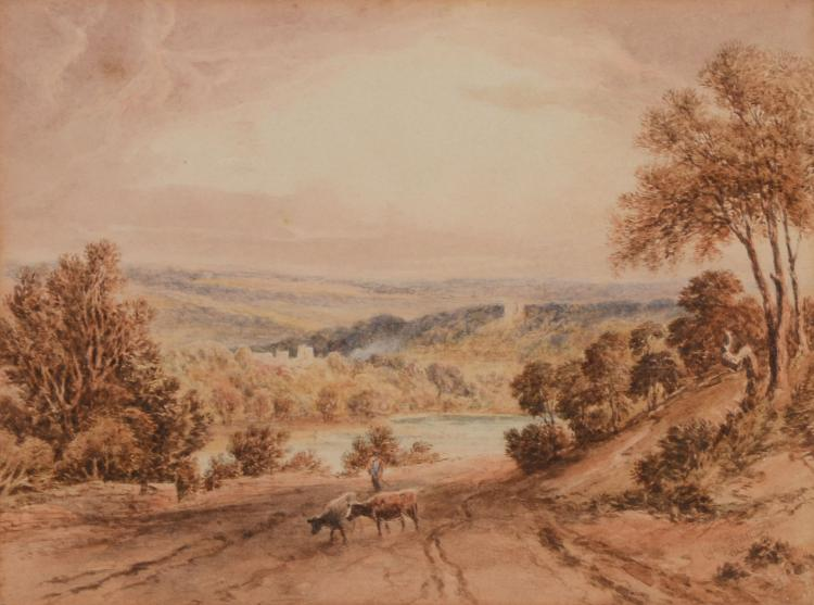 Attributed to Copley Fielding (1787 - 1855) - Landscape with cows
