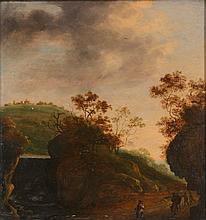 Follower of Jan Dirksz Both (1618-1652) - Travellers in a landscape
