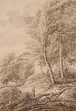 Vincent Jansz van der Vinne (1736-1811) - Wooded landscape with woodcutters