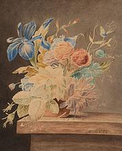 Maria Margaretha van Os (1779-1862) - A Vase of Flowers with a Blue Iris, Rose and Carnations on a Ledge