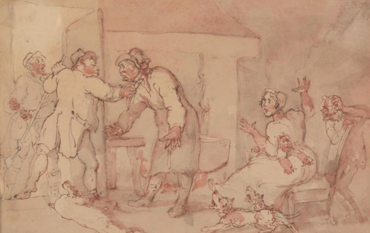 After Thomas Rowlandson (British, 1756-1827) - The Bailiff's Warning