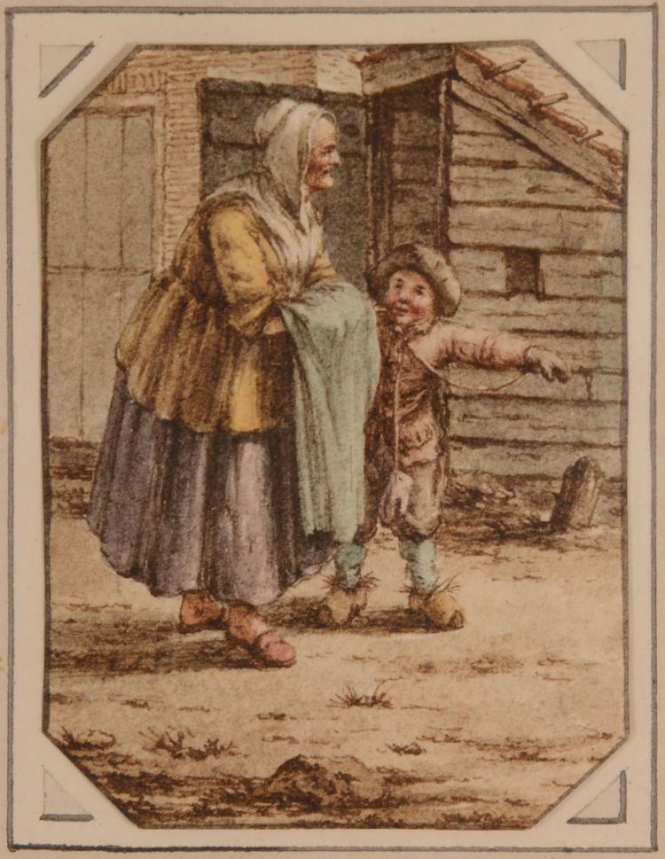 Jacob Cats  (1741-1799) - An old woman and child outside a cottage