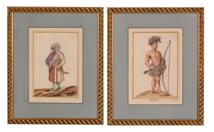 German School, 18th Century - Ten figures in 'National' costumes