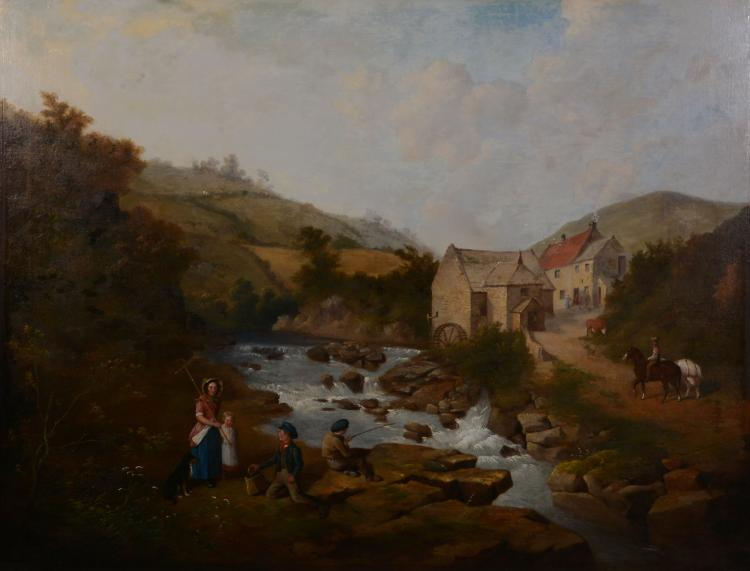 Attributed to Isaac Henzell (1815-1876) - Fishing before a mill