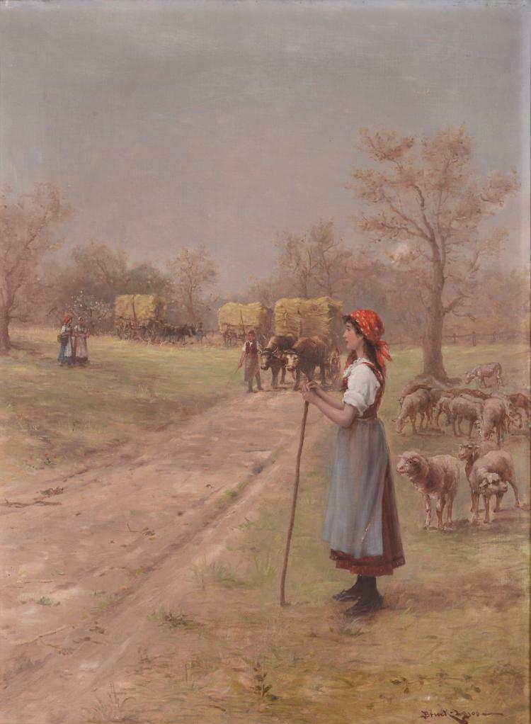 Lajos Bruck 1846-1910) - The Shepherdess