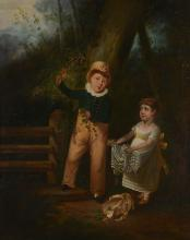 English School (19th century) -  Two children by a Stile