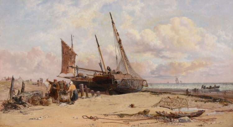Arthur Joseph Meadows (1843 - 1907) - Unloading the catch