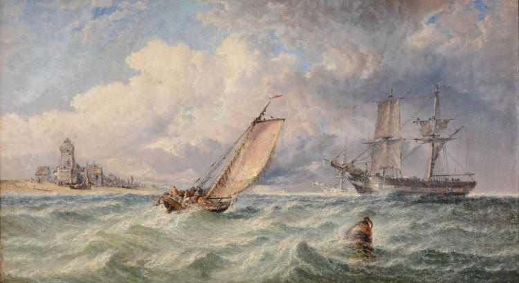 Arthur Joseph Meadows (1843 - 1907) - Ships approaching the shore