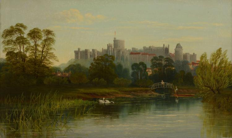 English School (19th century) - Windsor castle; On the Thames, a pair