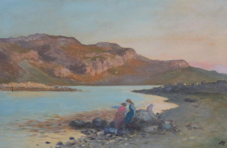 George Russell (1867-1935) - Figures by the shore