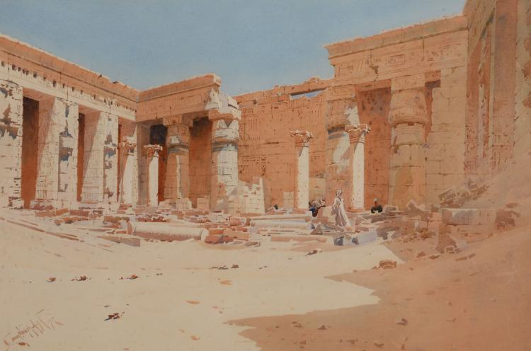 Augustus Osborne Lamplough (1877-1930) - Egyptian temple interior