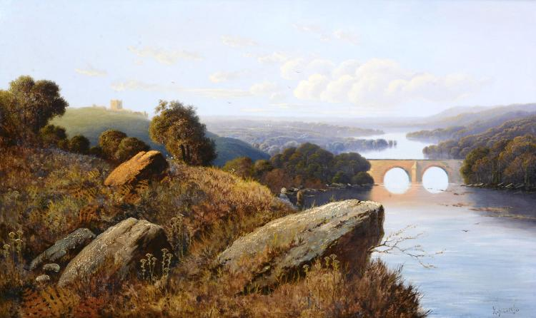 Italian School (late 19th century) - Landscape with river, looking towards a bridge