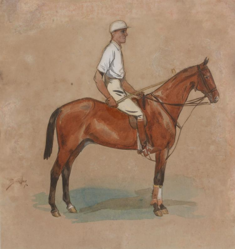 Charles Johnson Payne (Snaffles) (1884-1967) - A study of a mounted polo player
