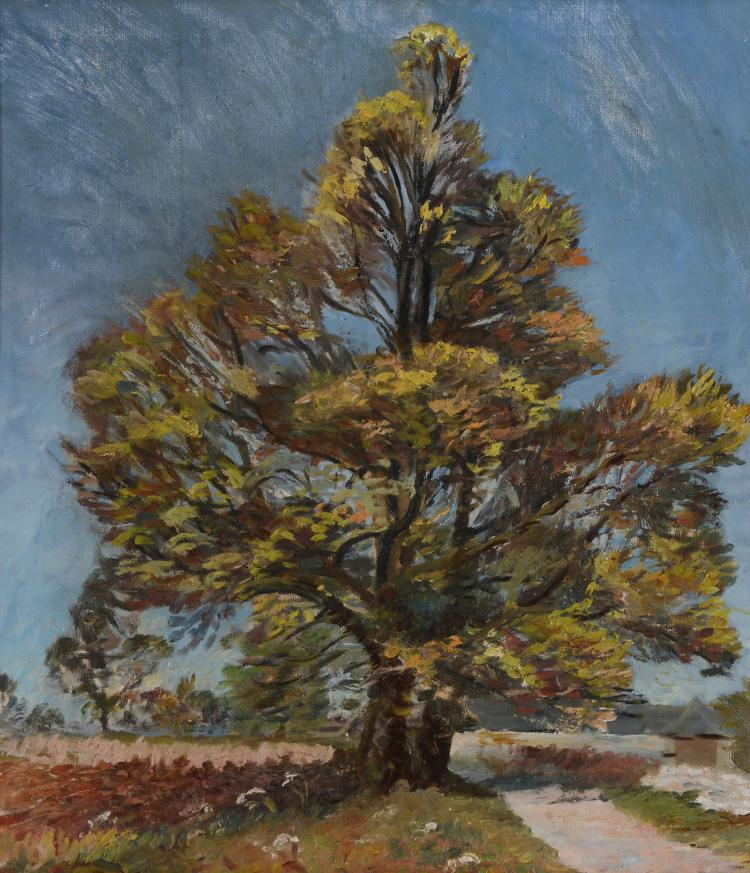 David Rolt (1915 - 1985) - Solitary Elm (recto); The artist's wife (verso)