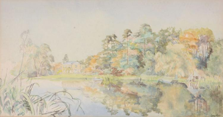 David Rolt (1915 - 1985) - Woodside From The Far End Of The Lake