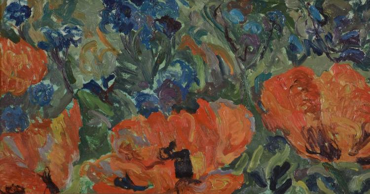 David Rolt (1915 - 1985) - Poppies at Chieveley Manor