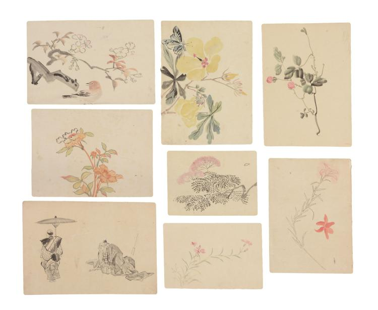 Thirty-two Japanese watercolours, first half of the 20th century