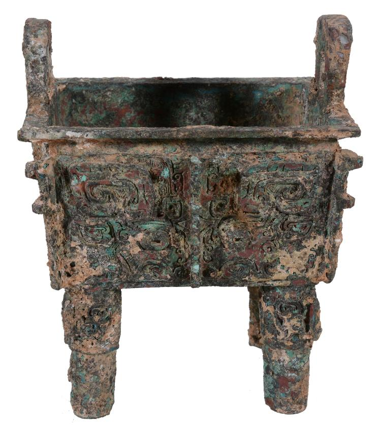 A Chinese Archaic-style bronze wine vessel , Fangding, of rectangular section
