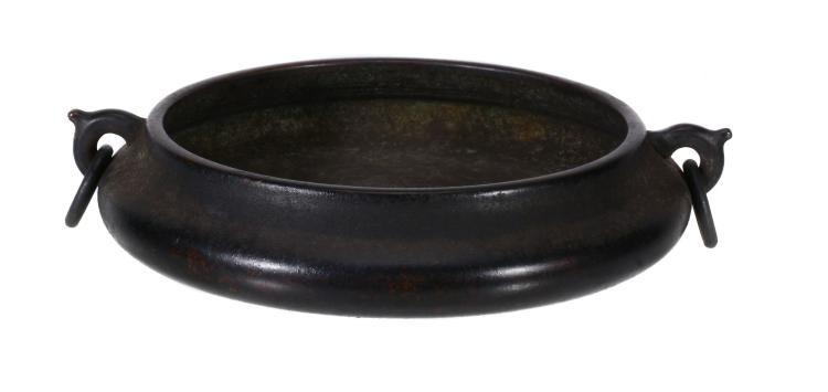 A Chinese bronze two-handled censer, of shall circular form, with ring handles