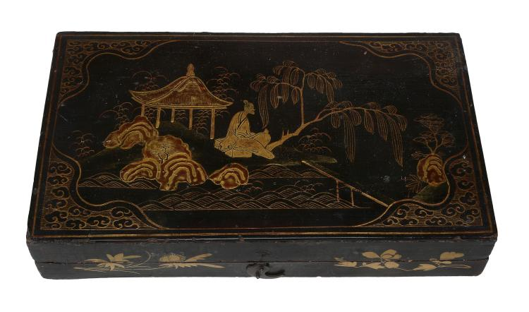 A Chinese black lacquer box, first half of 20th century