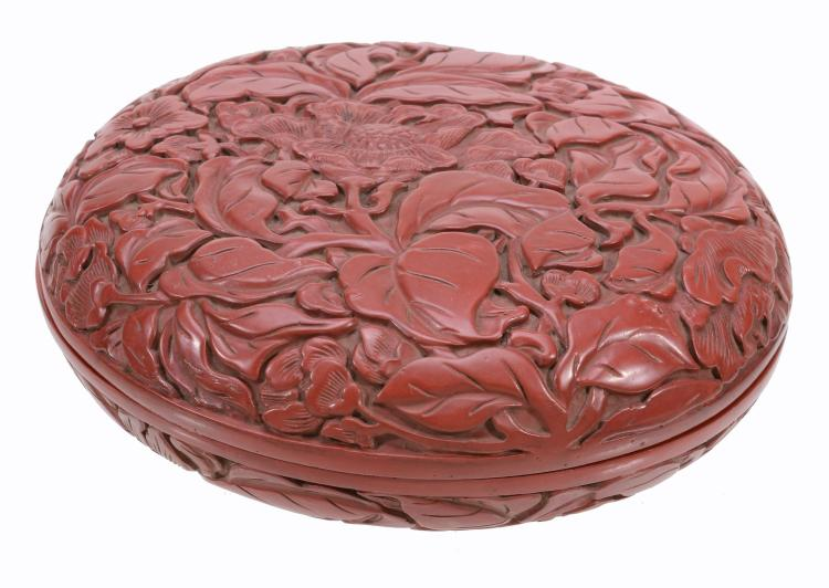 A Chinese red lacquer circular box and cover