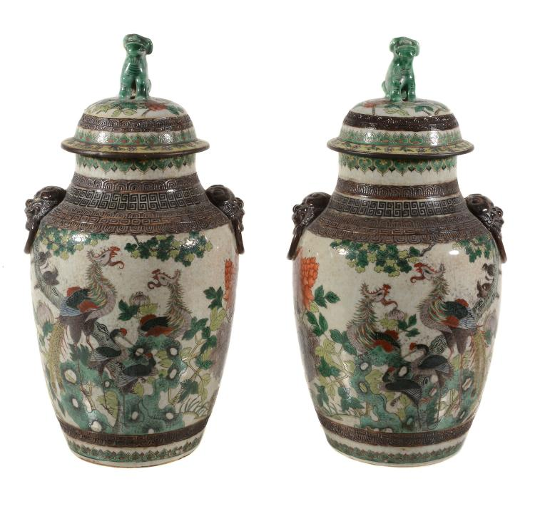 A pair of Chinese Famille Verte vases and Covers , circa 1900
