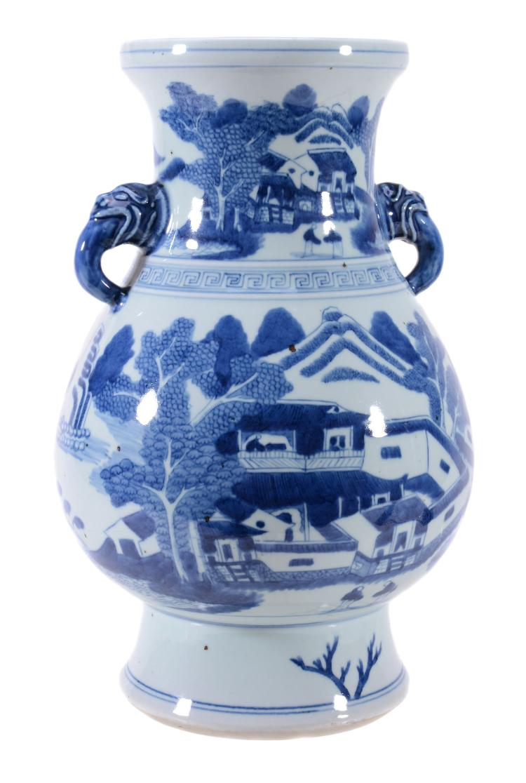 A Chinese blue and white vase , 20th century