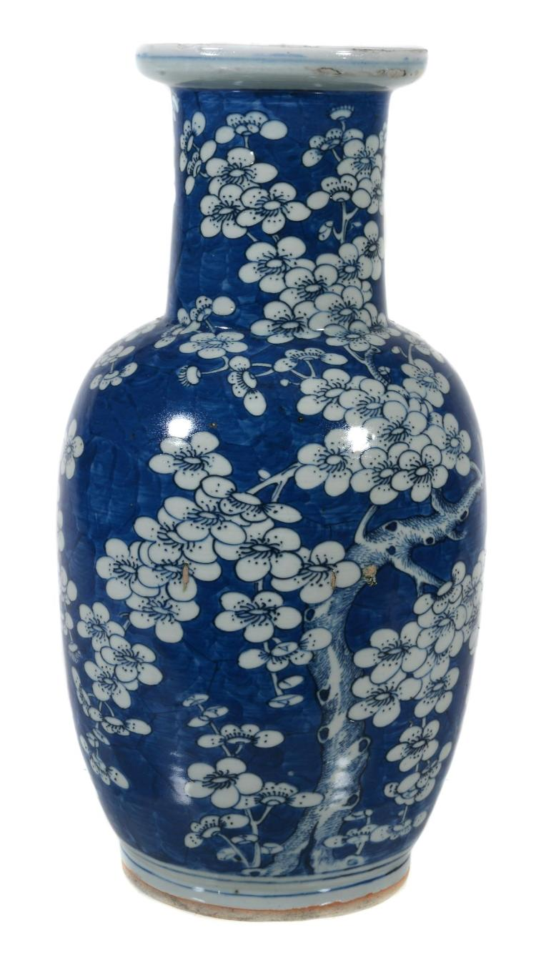 A Chinese blue and white vase , circa 1900