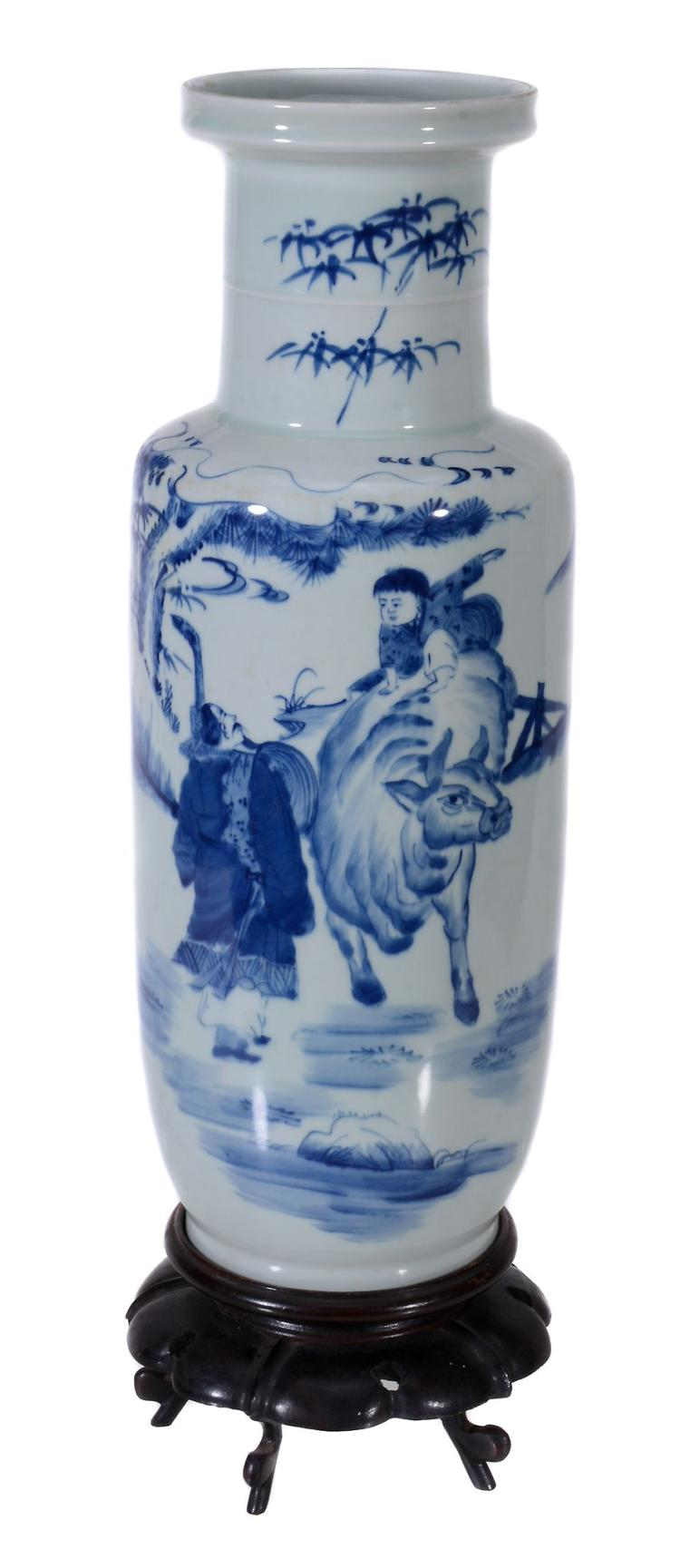 A Chinese blue and white rouleau vase, 20th century, the vase 44cm high