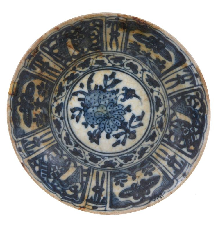A Safavid Blue and White Dish, Persia 18th Century, of dished