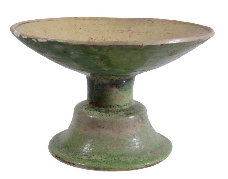 A Byzantine Footed Stand, 14th-15th Century, the green glazed foot of