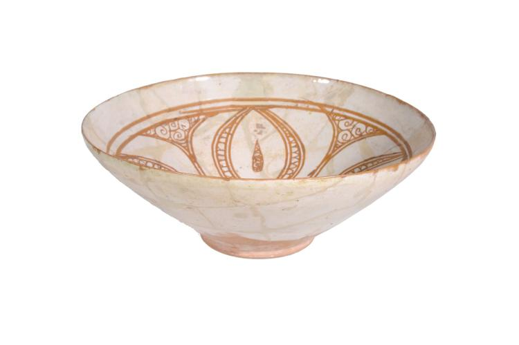 A Persian Bowl of conical form resting on a short foot