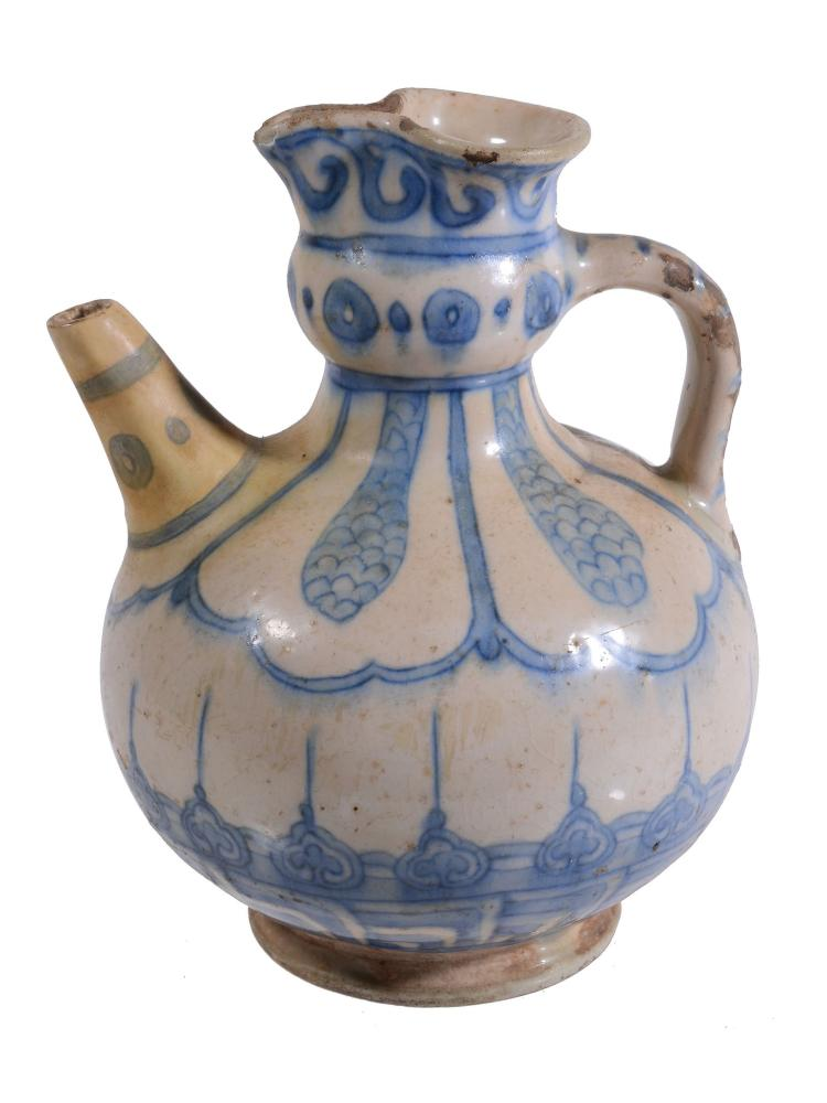 A Safavid Blue and White Ewer, 17th Century