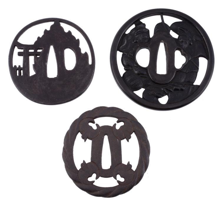 BAMEN TSUNEMASA: An Iron Sukashi Tsuba, Edo Period