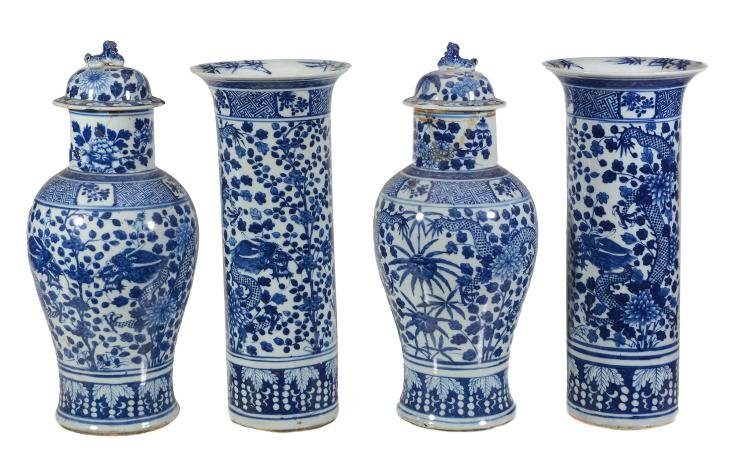 A suite of four Chinese blue and white vases, late 19th century