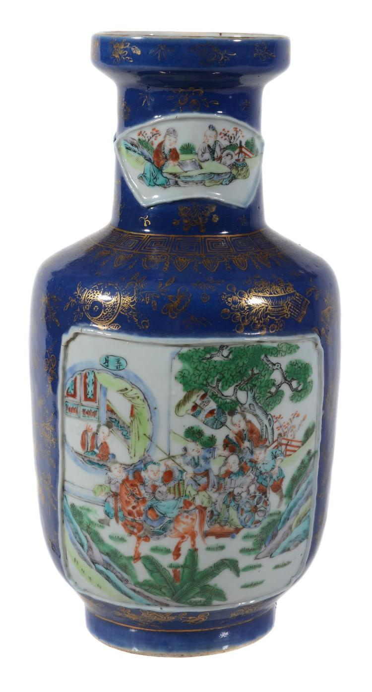 A Chinese Famille Rose powder-blue ground rouleau vase , late Qing Dynasty