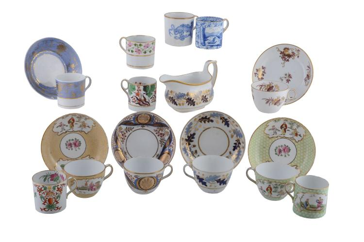 A selection of Wedgwood porcelain teawares from the first bone china period