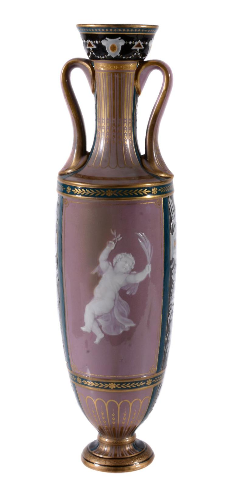 A Minton porcelain lilac-ground pate-sur-pate slender vase, late 19th century