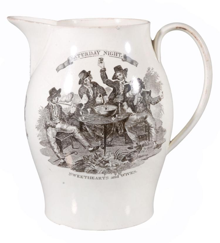 A Liverpool-printed English creamware jug, circa 1790