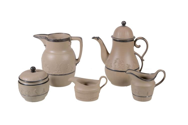 Five items of Samuel Hollins dry-bodied stoneware, early 19th century