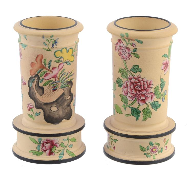 A pair of Spode caneware, transfer-printed and enamelled cylindrical spill...