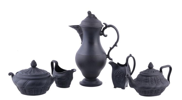 A selection of Spode black basalt, circa 1800, comprising