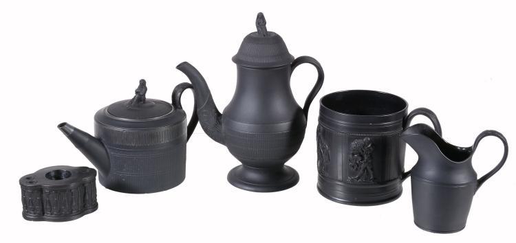 A mixed assortment of English black basalt domestic wares