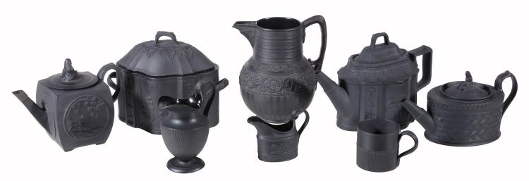 A selection of Turner of Lane End black basalt teawares